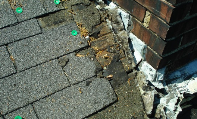 This photo shows why the chimney was leaking.