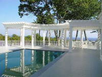 Castine, ME Pergola custom built to surround pool area