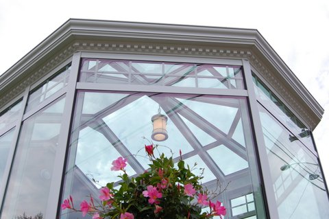 Exterior trim details on solarium
