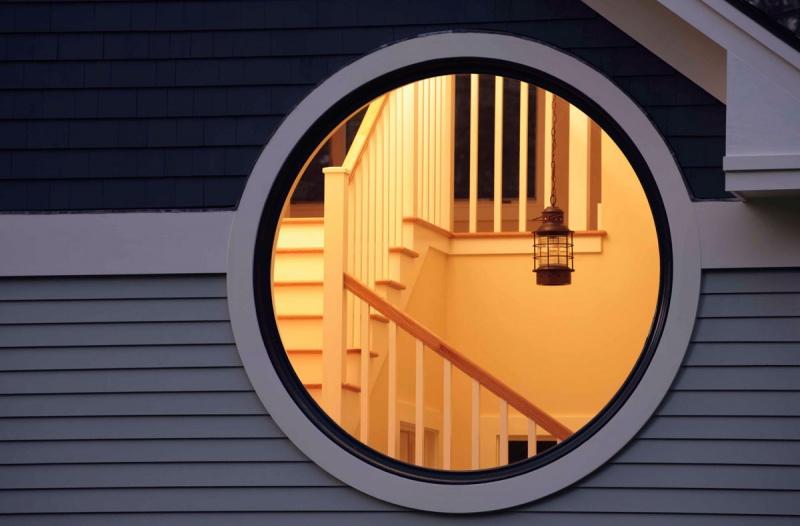 Garage with Custom Round Window