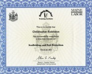 Fall Protection Certificate March 2014