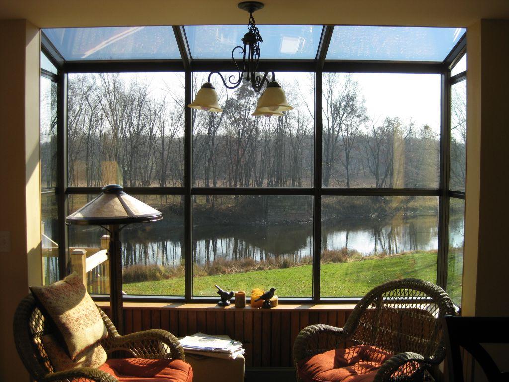 Four Seasons Greenhouse Bay Window, Bronze Aluminium