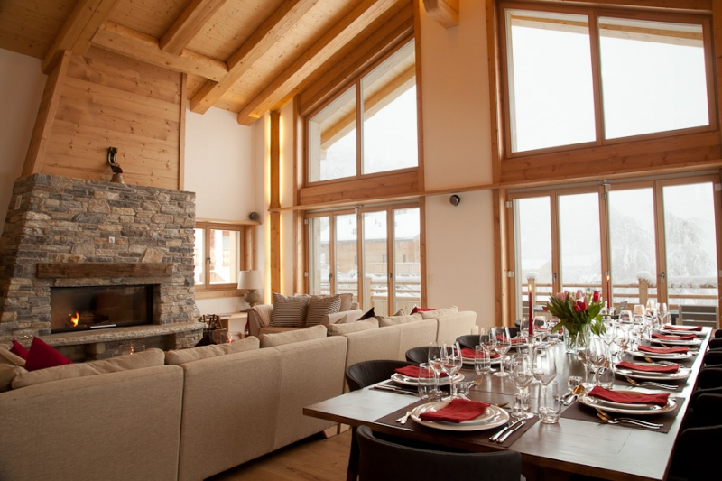 Open Living Room Dining Room, Cathedral Ceilings, Vacation Package, Haute Nendaz, Switerland