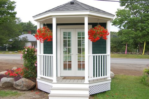 Model Solarium with a Porch Entry in Rockport, ME.  This was part of the garden display at Plants Unlimited.