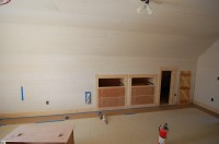 Upstairs bedroom with built in storage